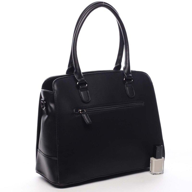 Příjemná větší pevná dámská kabelka Nathan černá