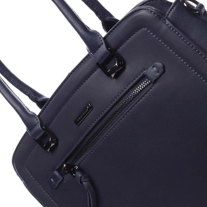 Příjemná větší pevná dámská kabelka Nathan modrá