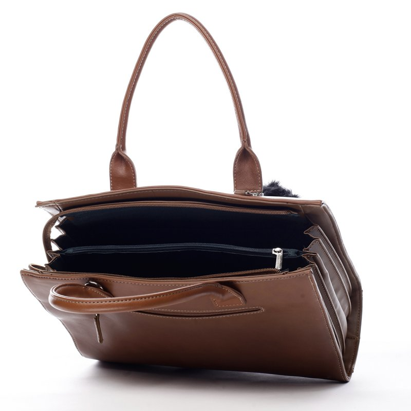 Prostorná okouzlující dámská taška Vivien koňaková