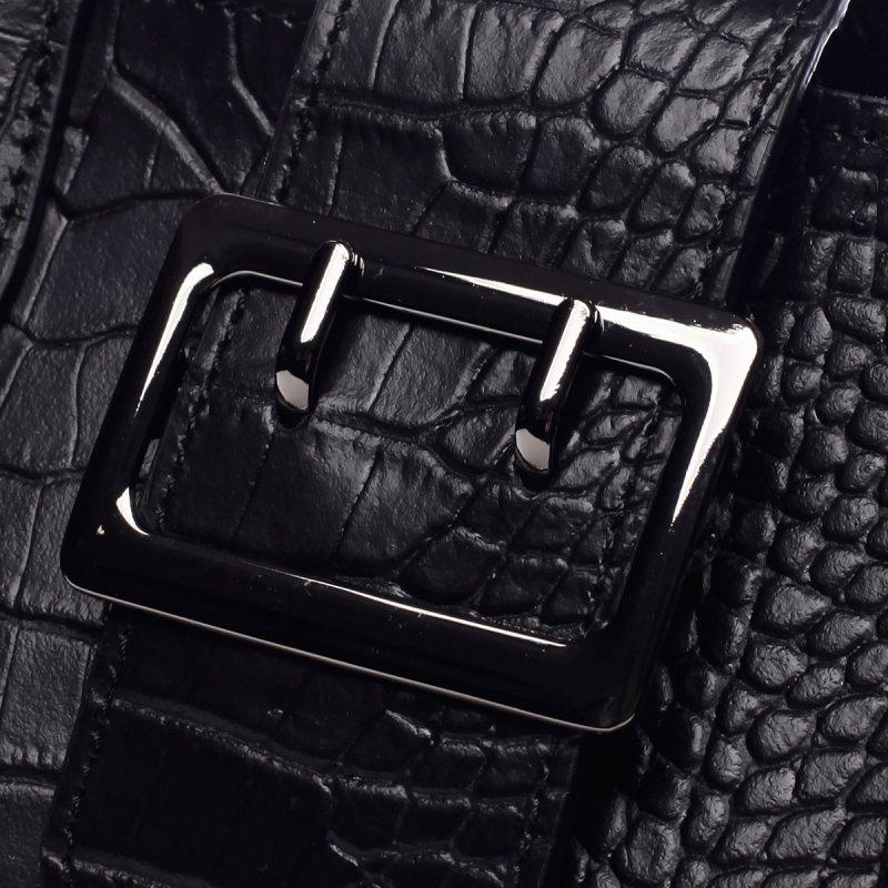Módní prostorná dámská kožená taška Mathilde černá
