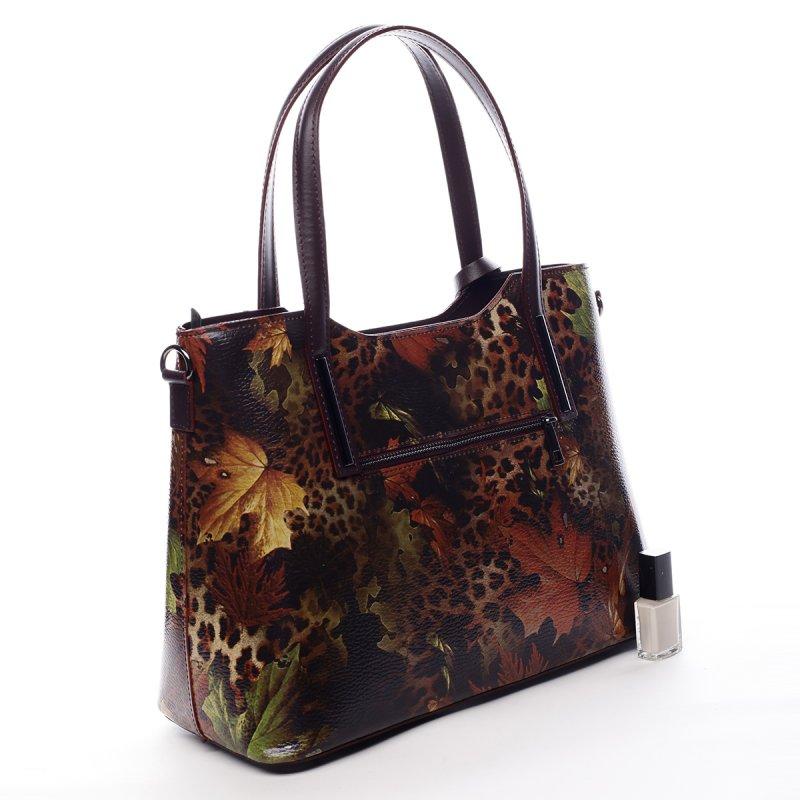 Luxusní dámská kožená taška Joseph vínová/potisk list
