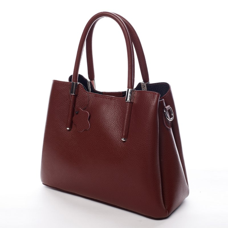 Krásná dámská kožená kabelka Lea červená