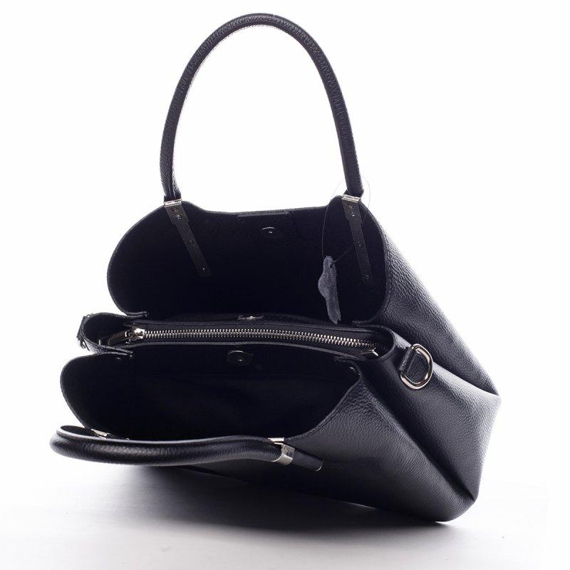 Krásná dámská kožená kabelka Lea černá