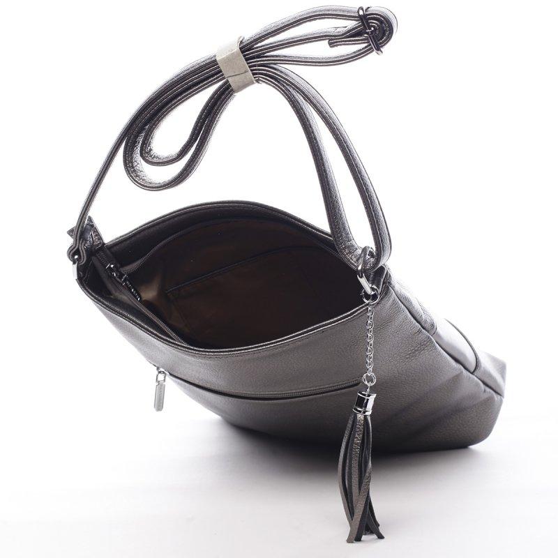 Praktická dámská koženková crossbody Gontran stříbrná