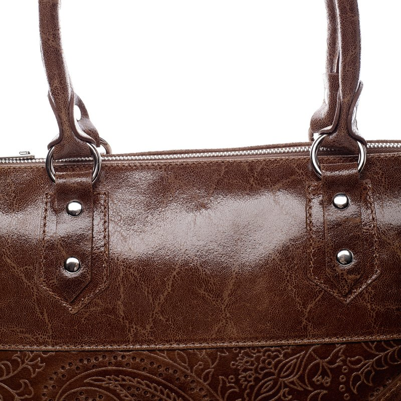 Velká dámská kožená kabelka Ewen hnědá