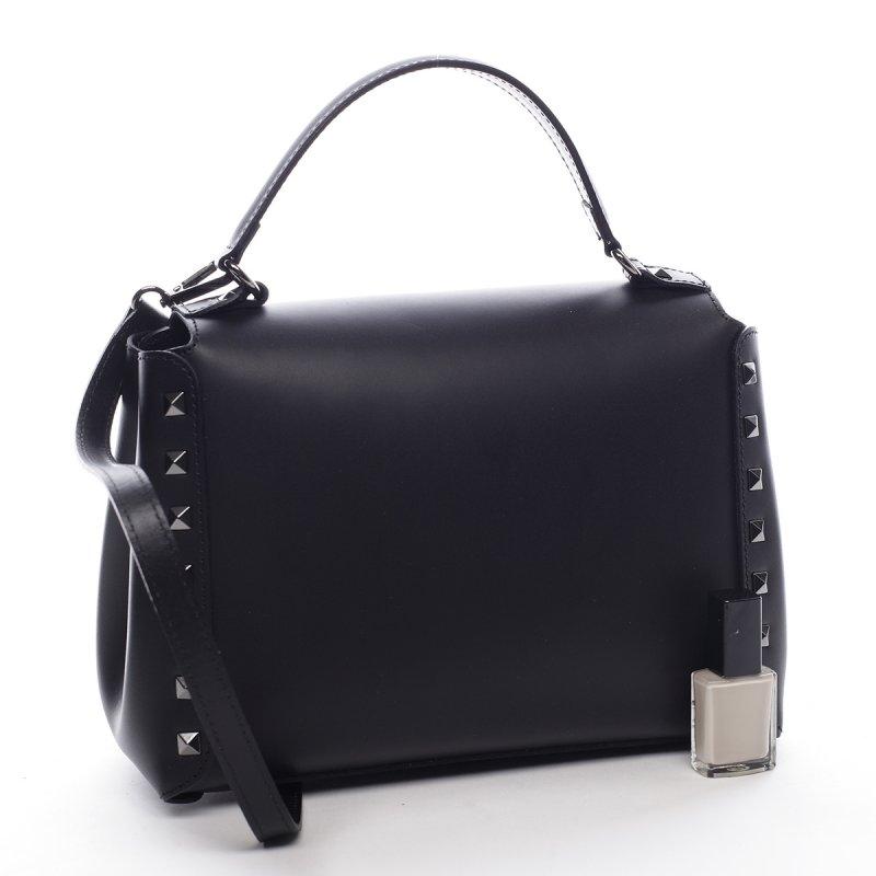 Módní dámská kožená kabelka Boris černá s proužky
