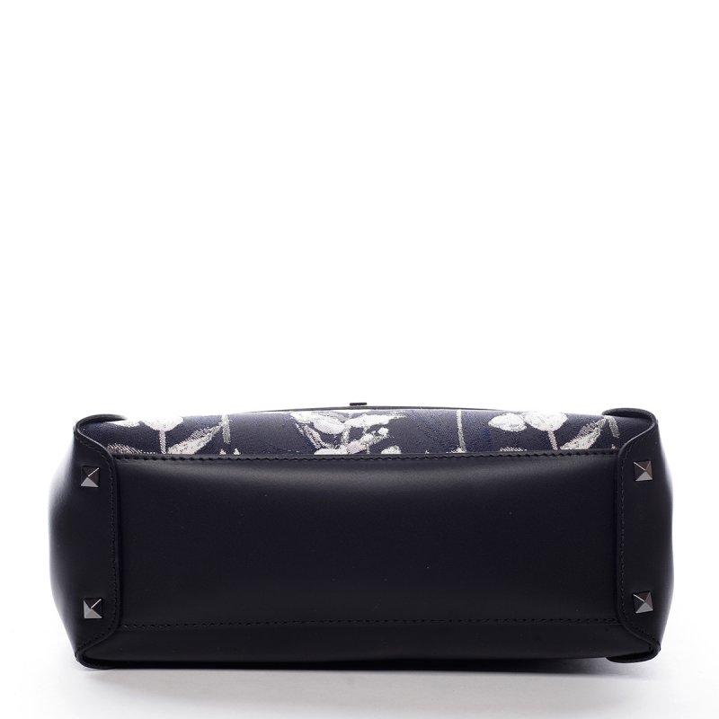Módní dámská kožená kabelka Boris černá s květy