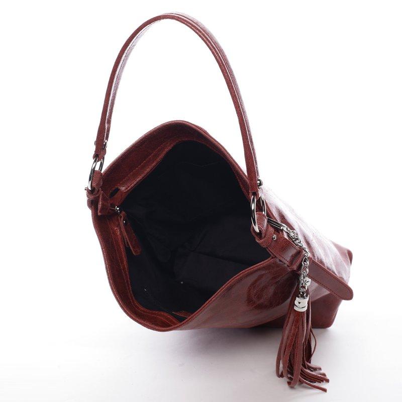 Exkluzivní dámská kožená kabelka Lady červená