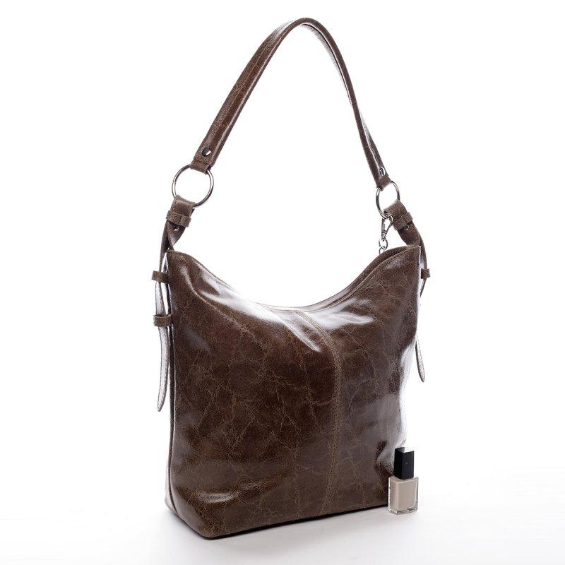 Exkluzivní dámská kožená kabelka Lady hnědá