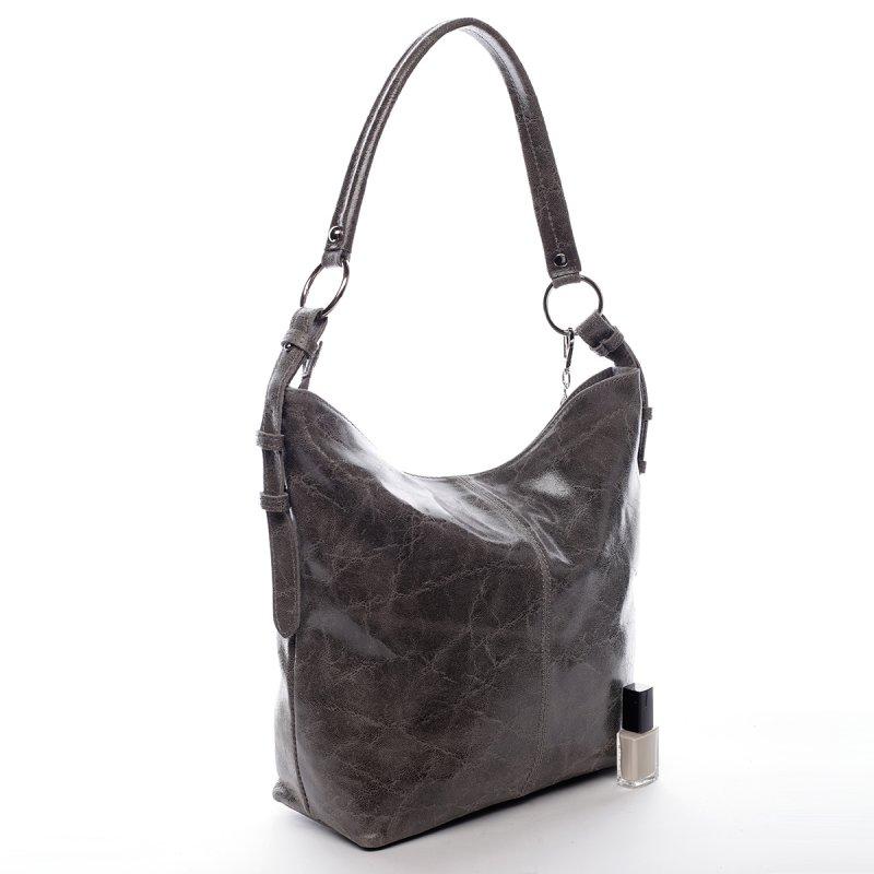 Exkluzivní dámská kožená kabelka Lady šedá