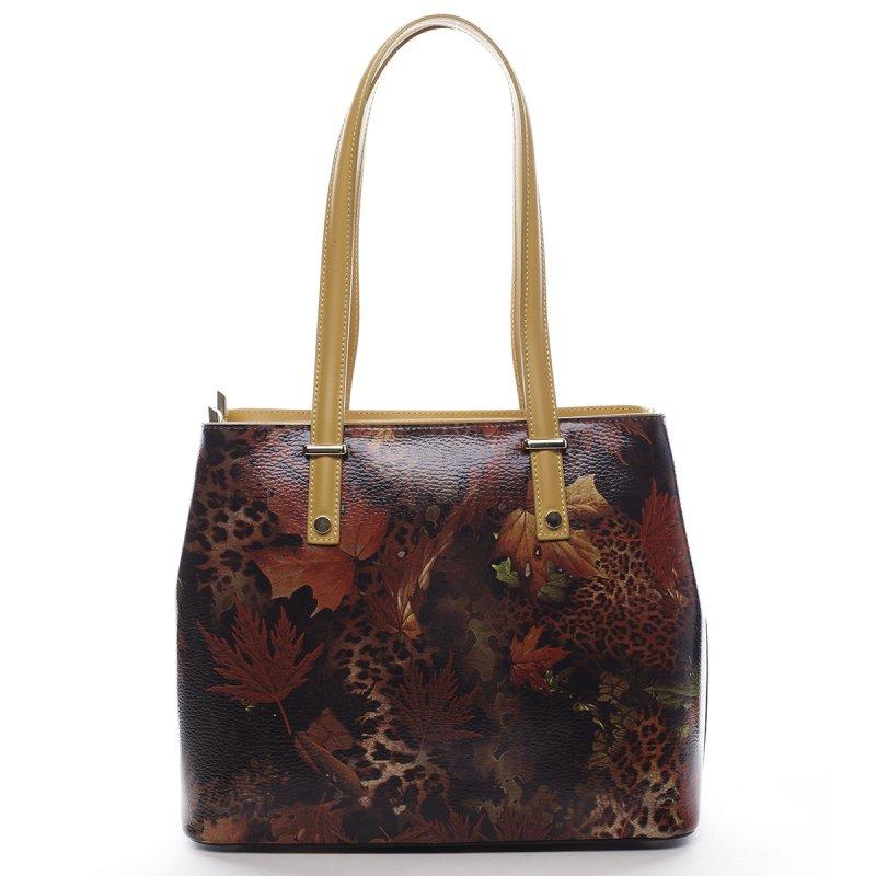 Luxusní dámská kožená kabelka Indira vzor list žlutá
