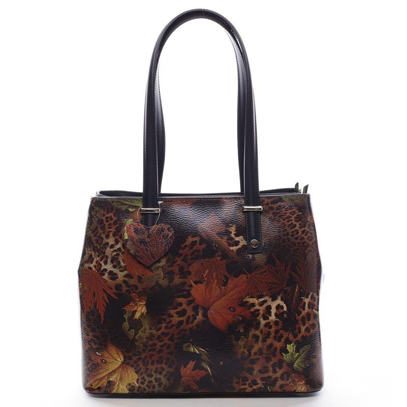Luxusní dámská kožená kabelka Indira vzor list černá