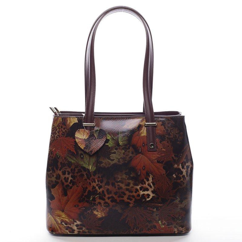 Luxusní dámská kožená kabelka Indira vzor list vínově červená