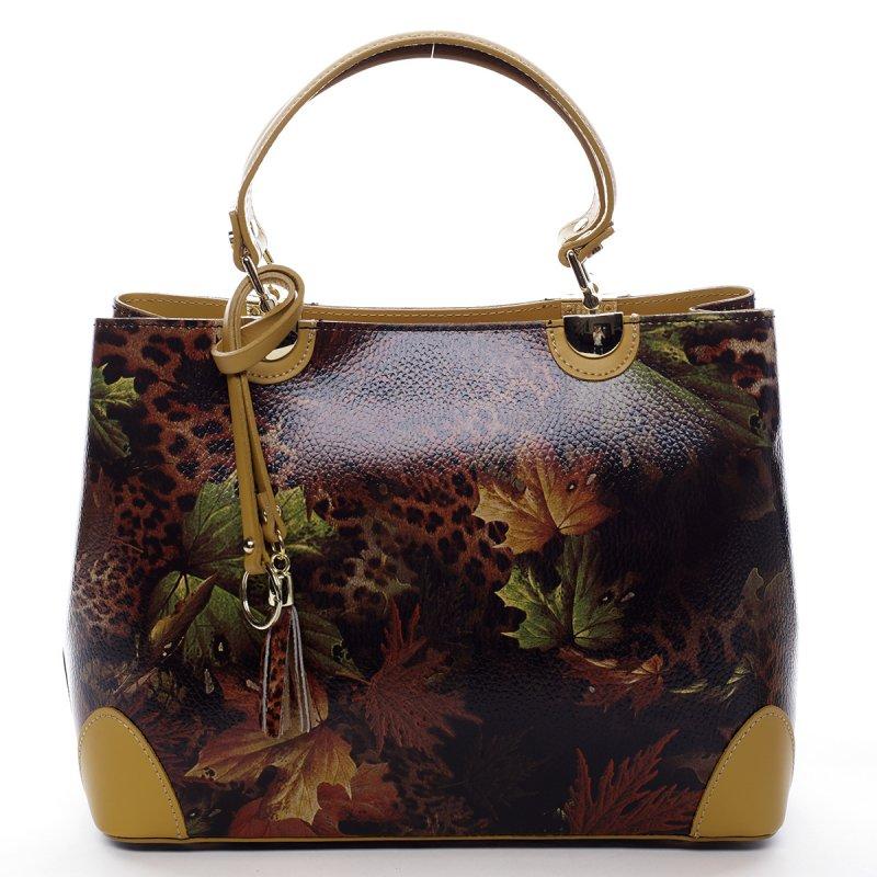 Luxusní dámská kožená kabelka Mira vzor list žlutá