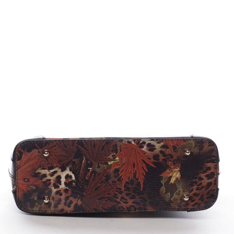 Luxusní dámská kožená kabelka Mira vzor list černá
