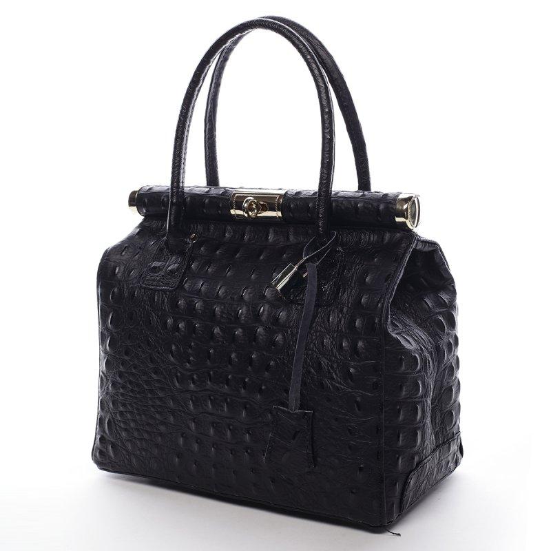 Moderní dámská kožená kabelka Anja croco černá menší