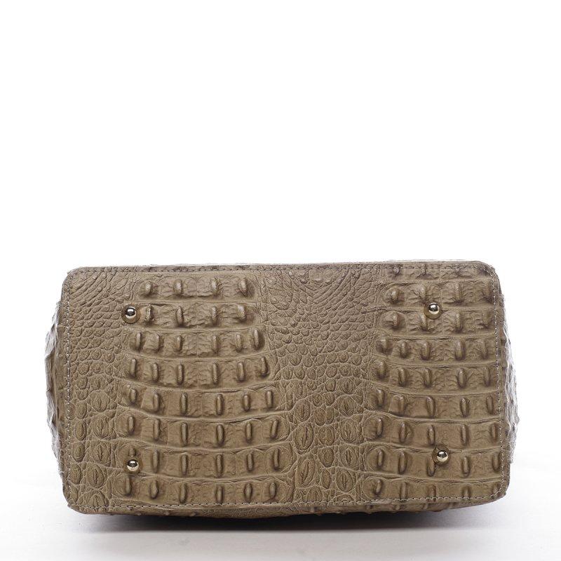 Moderní dámská kožená kabelka Anja croco krémová menší