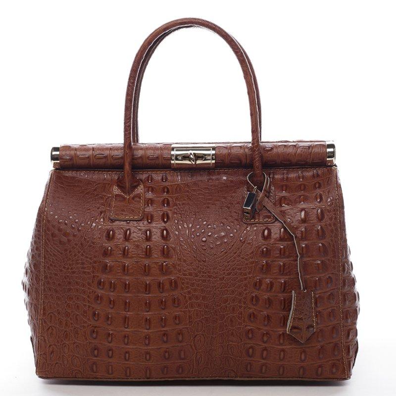 Moderní dámská kožená kabelka Anja croco koňaková