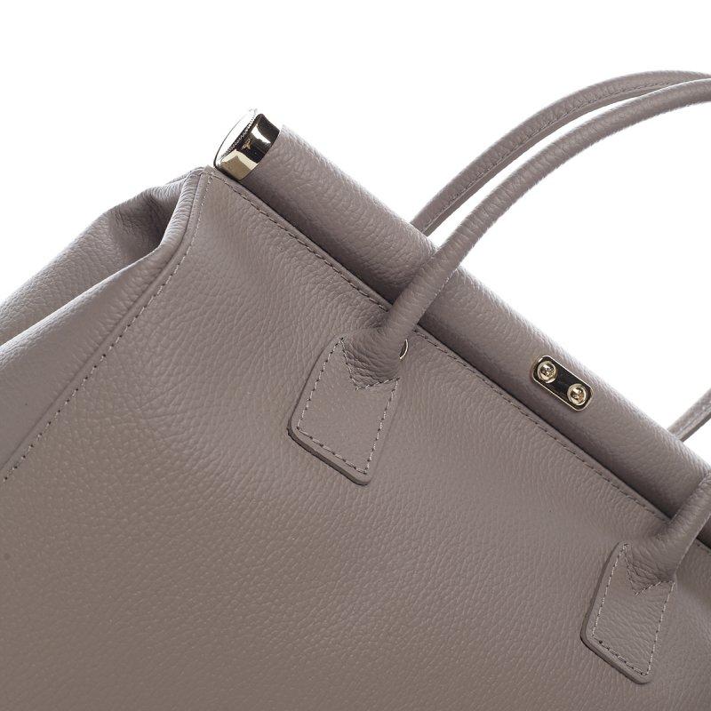 Moderní dámská kožená kabelka Anja krémová
