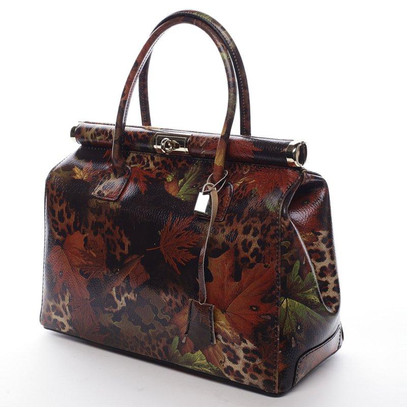 Moderní dámská kožená kabelka Anja vzor list