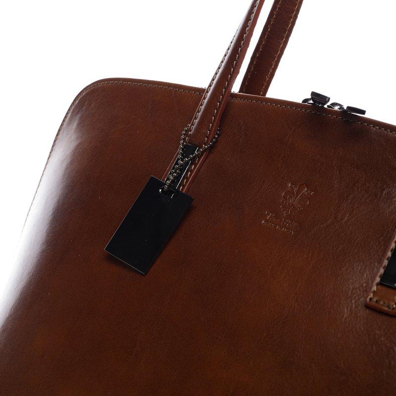 Elegantní dámská kožená kabelka Inna koňaková