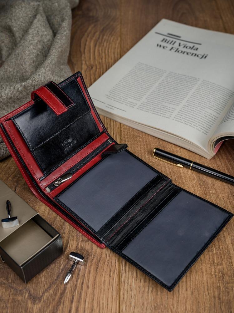 Moderní kožená pánská peněženka Dario černo červená