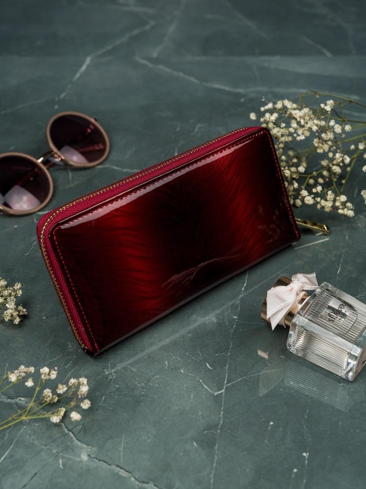 Dámská kožená lesklá peněžěnka Tif, červená