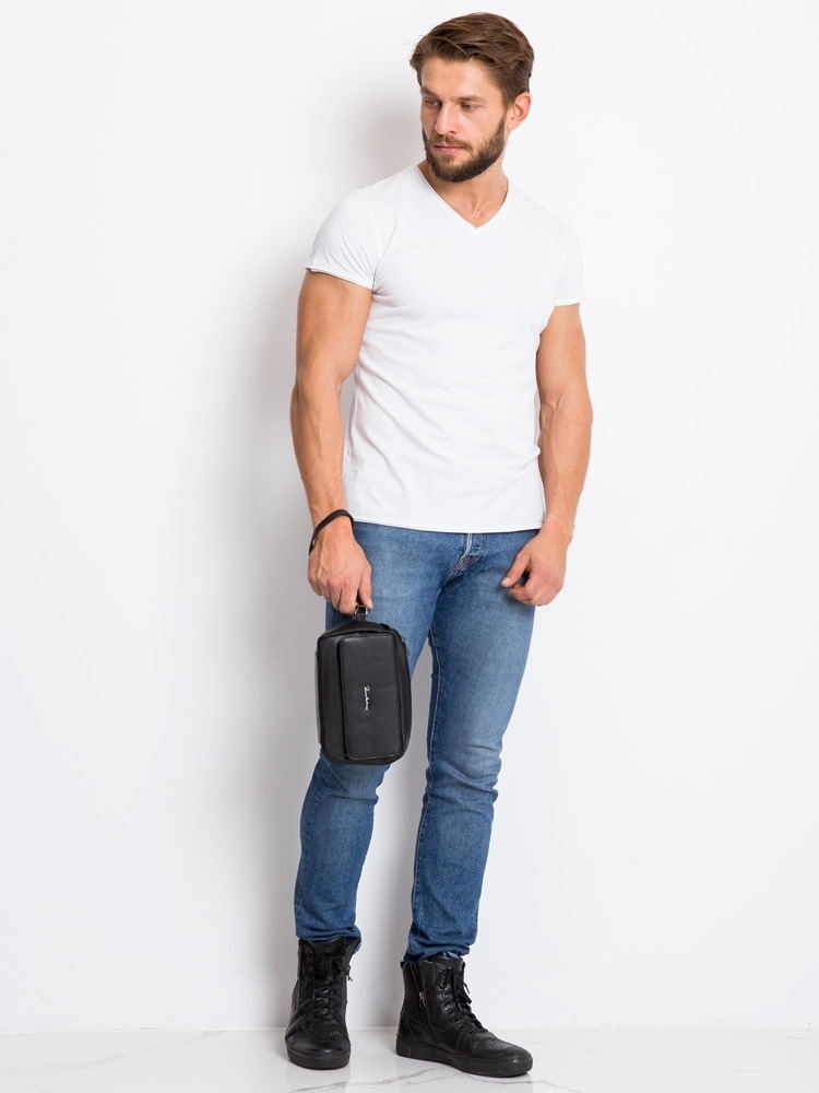 Praktická pánská kožená taška na poutko, černá