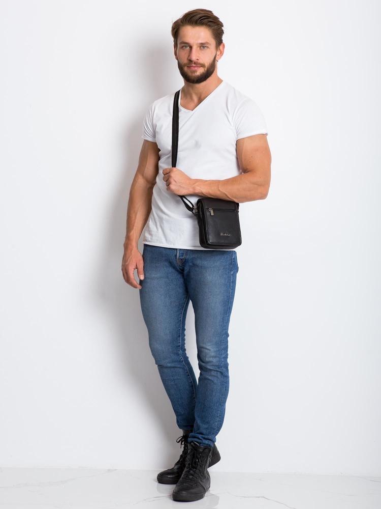 Pánská kožená taška přes rameno Via, černá