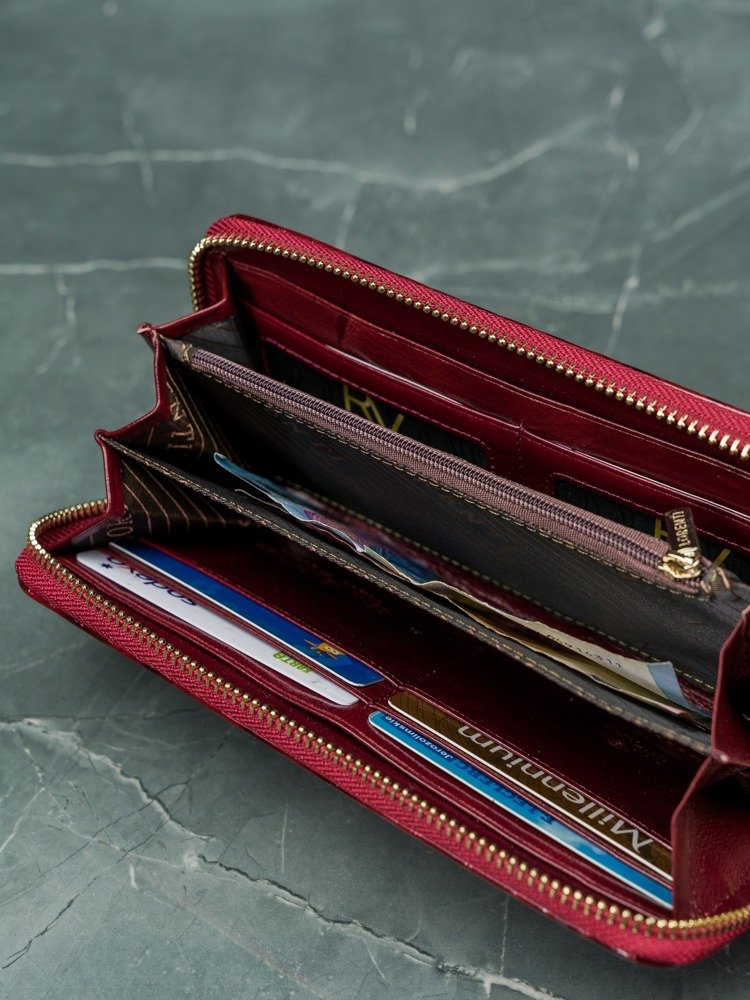 Kožená dlouhá dámská peněženka na zip Laura, červená