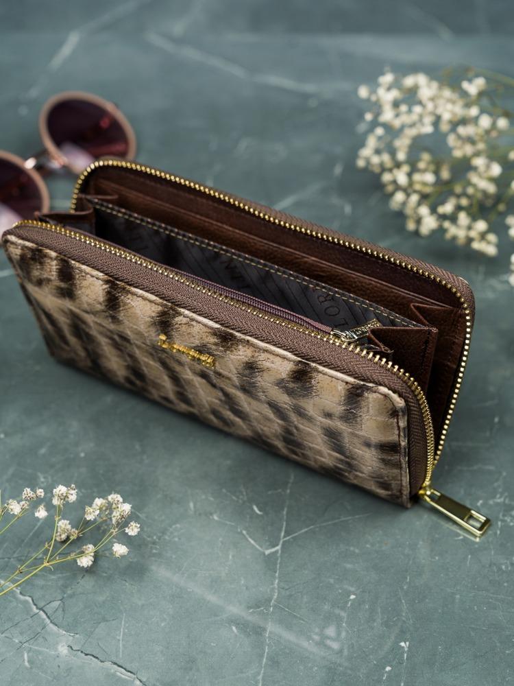 Kožená dlouhá dámská peněženka na zip Amanda, hnědá
