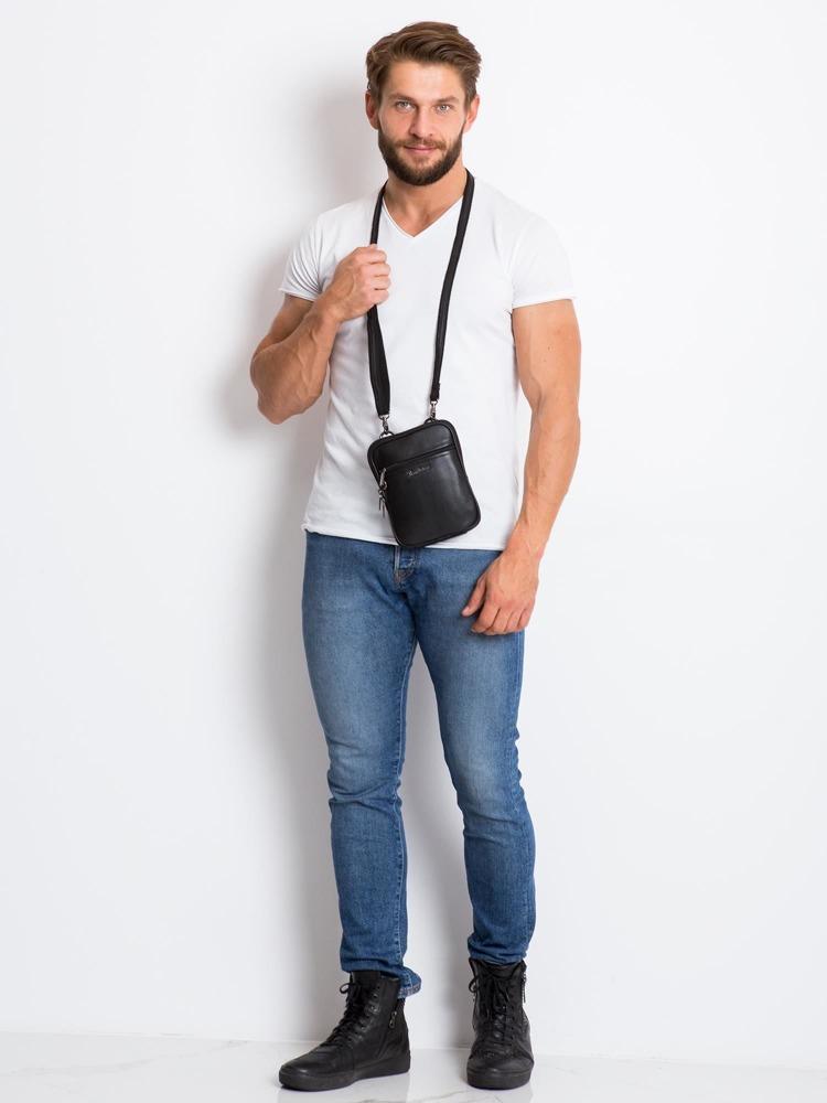 Menší kožená pánská taška Jeffrey, černá