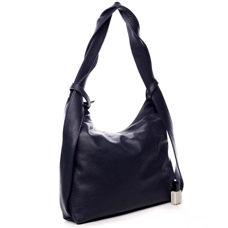 Prostorná dámská kožená kabelka batoh Emily modrá