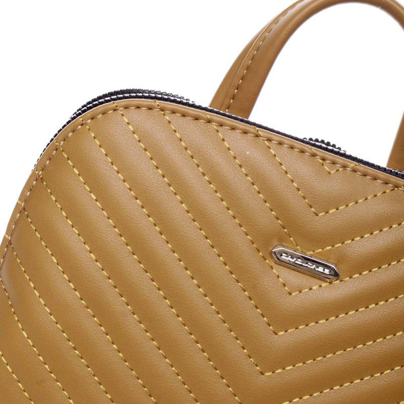 Dámský koženkový batůžek s prošíváním Lucy žlutá