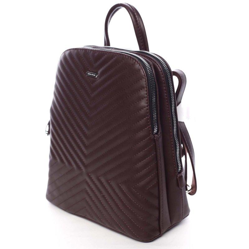 Dámský koženkový batůžek s prošíváním Lucy fialová