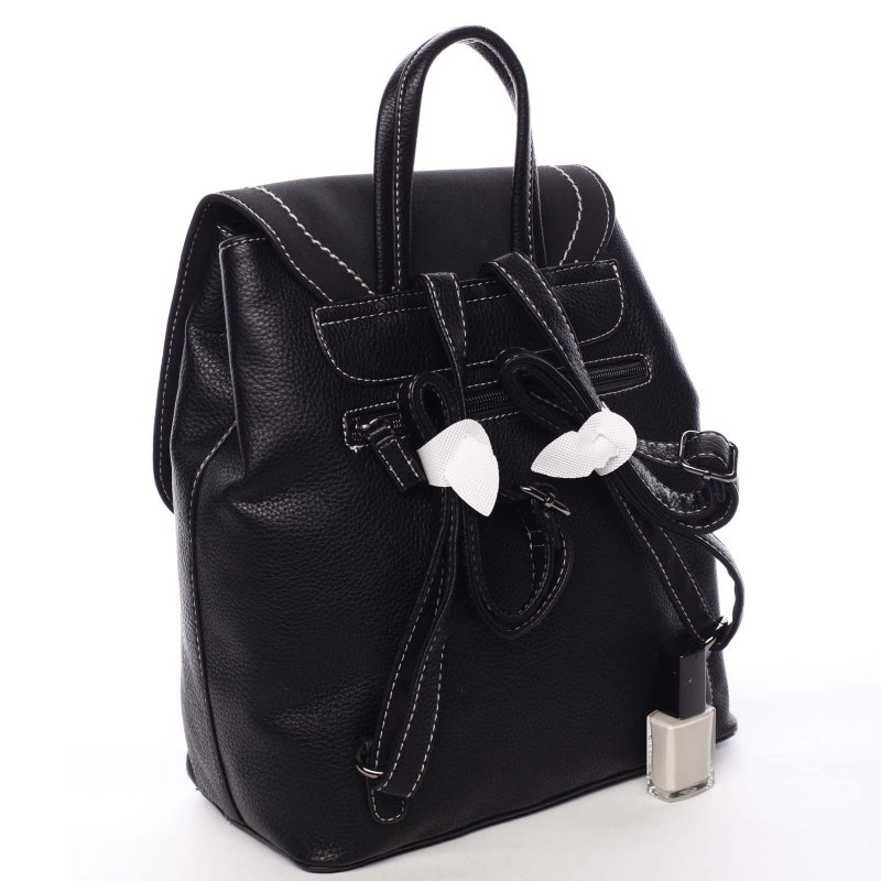 Desingový dámský koženkový batůžek Olivia černá