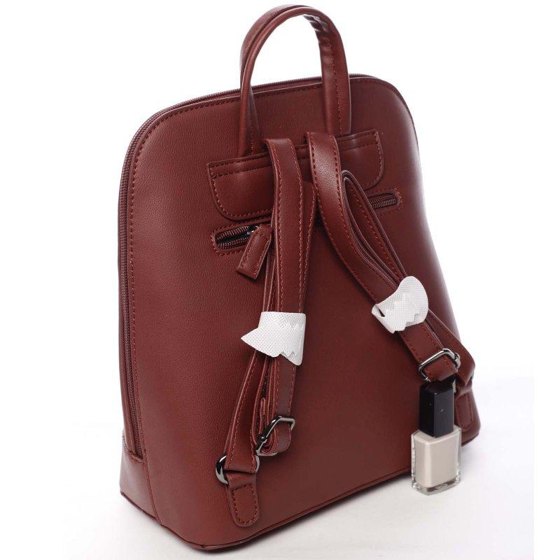 Stylový koženkový městský batoh Georgia červená
