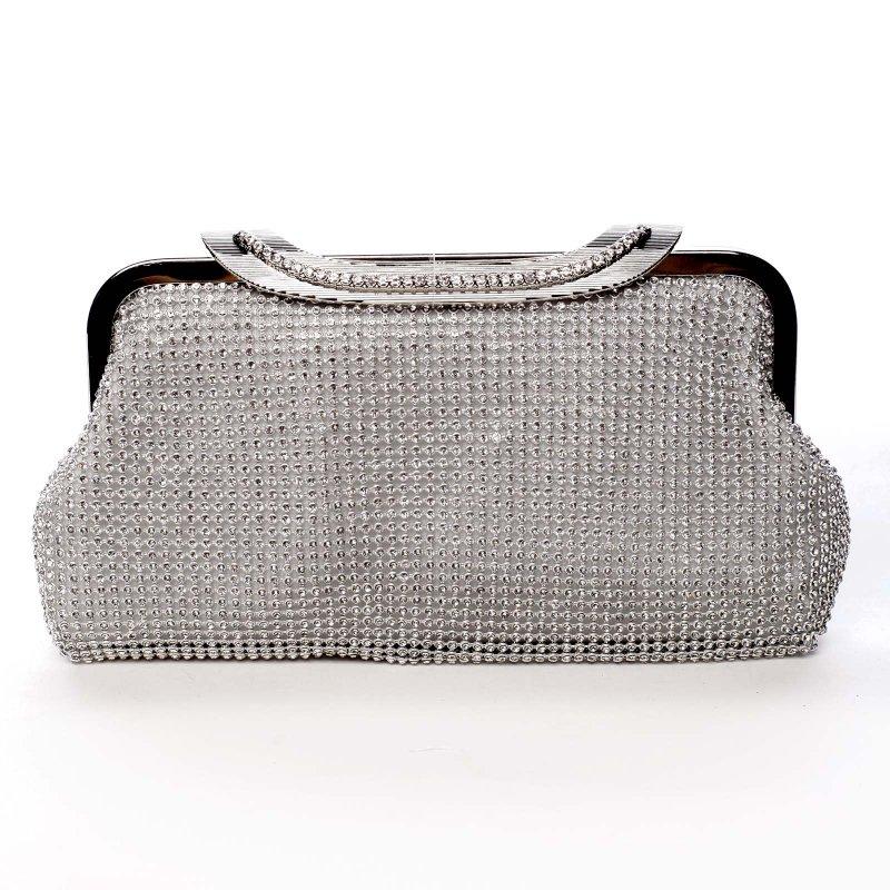 Plesová kabelka zajímavého střihu Abbie stříbrná