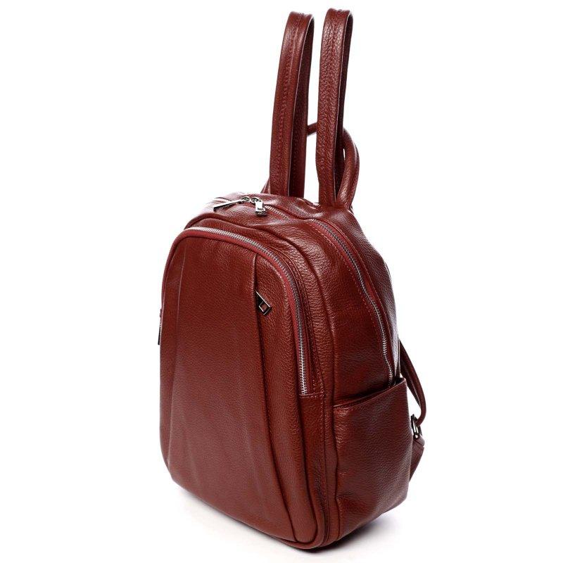 Měkký dámský kožený batůžek Molly červená