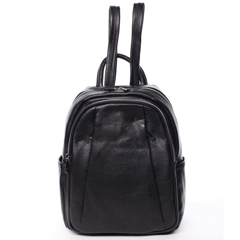 Měkký dámský kožený batůžek Molly černá
