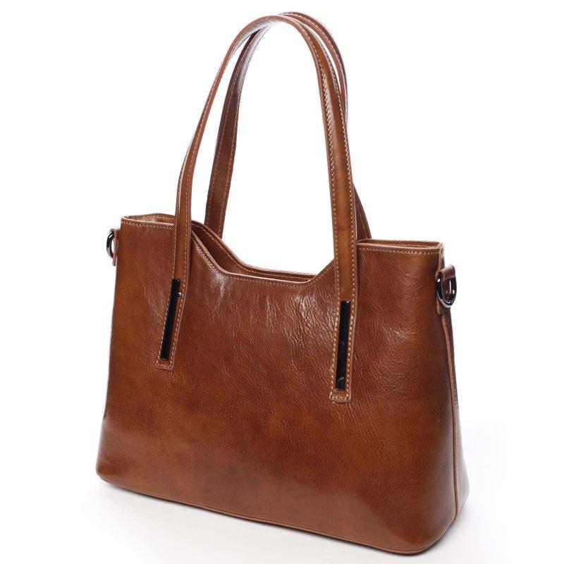 .Velká luxusní dámská kožená kabelka Leah koňaková