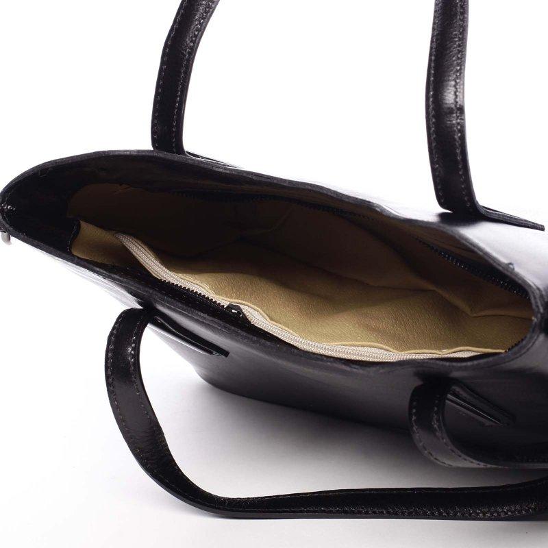 Velká luxusní dámská kožená kabelka Leah černá