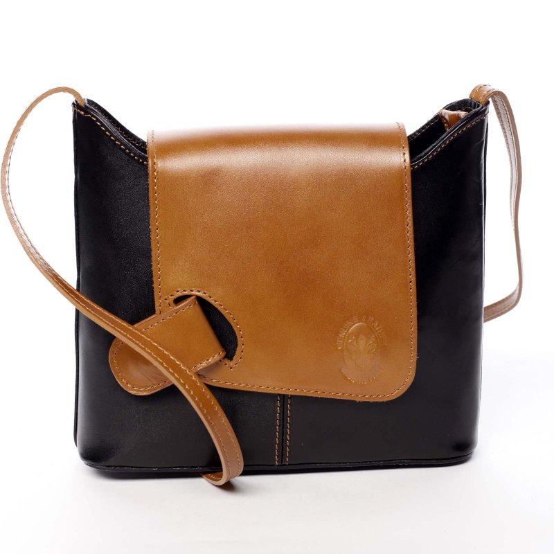 Dámská kožená kabelka s barevnou klopou Caitlin černá/koňaková