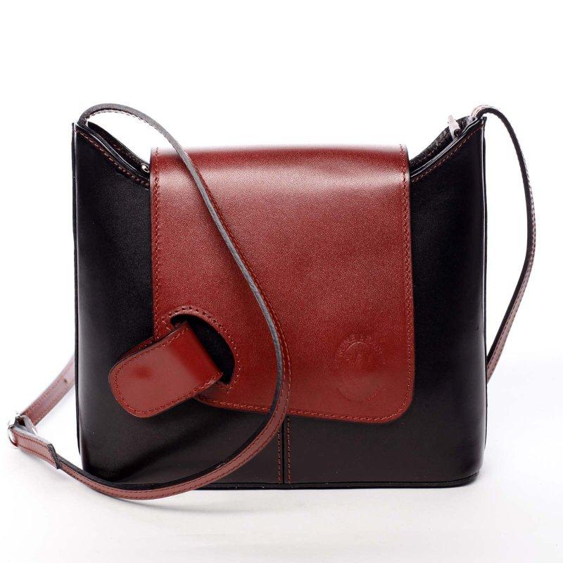 Dámská kožená kabelka s barevnou klopou Caitlin černá/červená