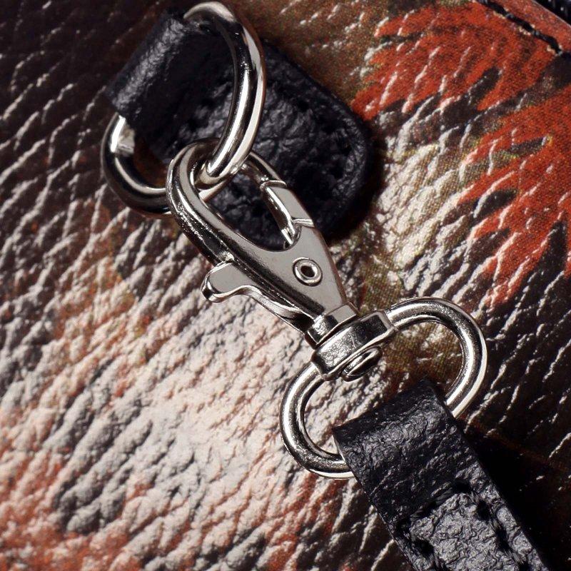Dámská kožená crossbody Cristina potisk list/černá