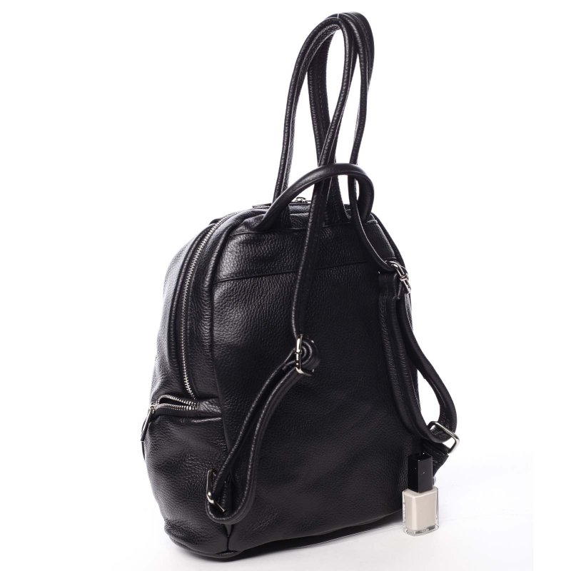 Praktický dámský kožený batůžek Gemma černá