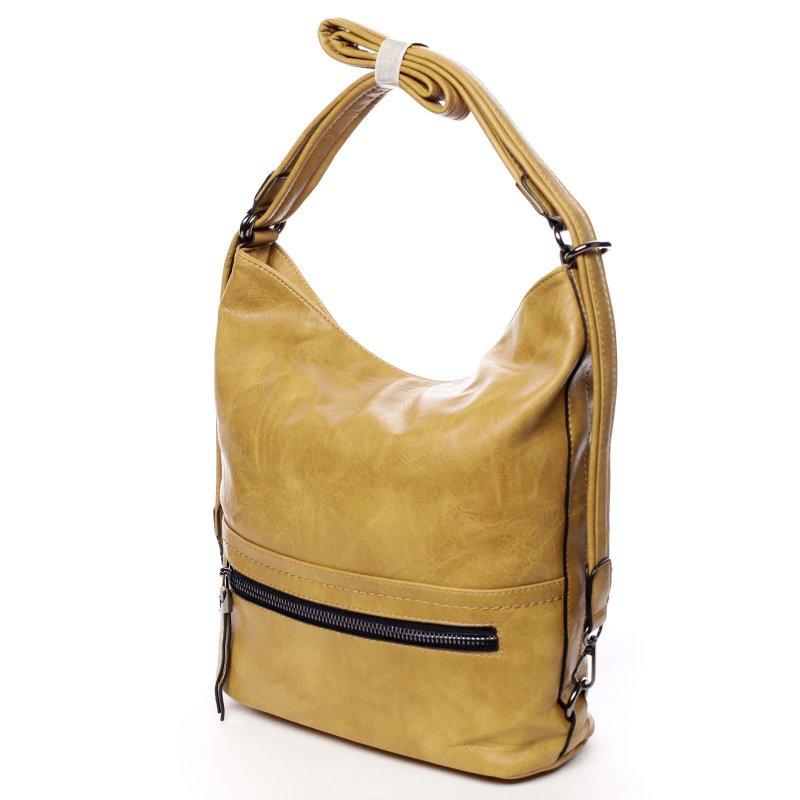 Praktická větší dámská koženková kabelka batoh Jodie žlutá