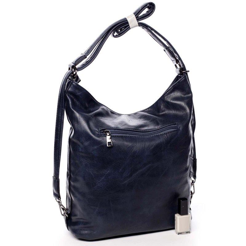 Praktická větší dámská koženková kabelka batoh Jodie modrá