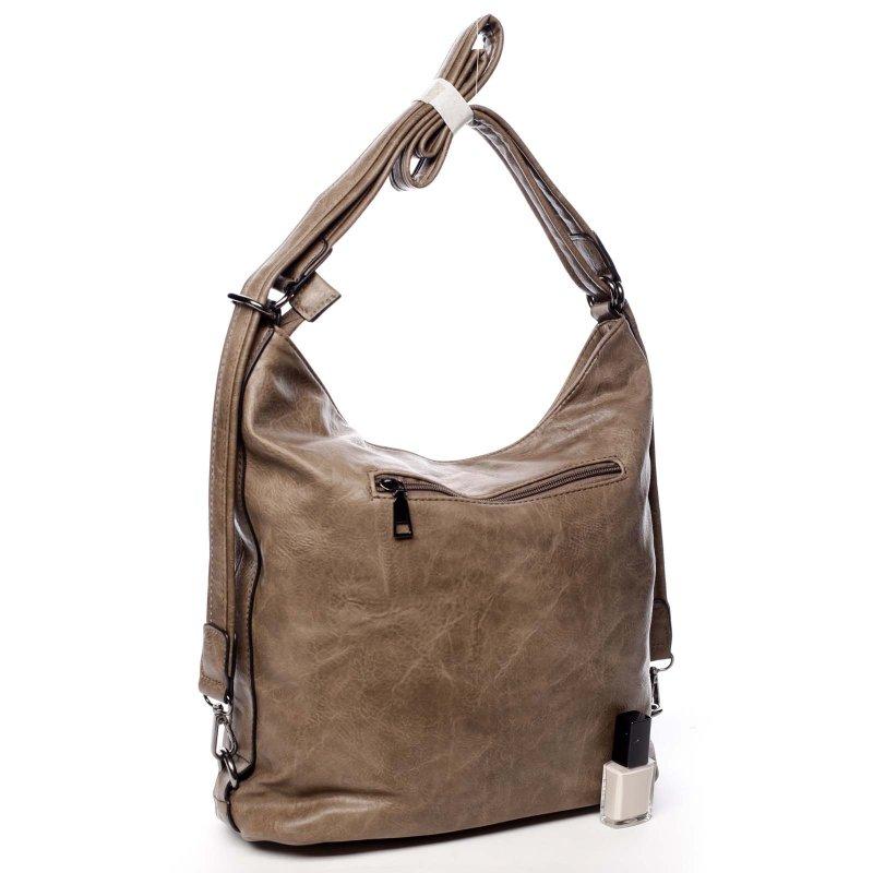 Praktická větší dámská koženková kabelka batoh Jodie hnědá