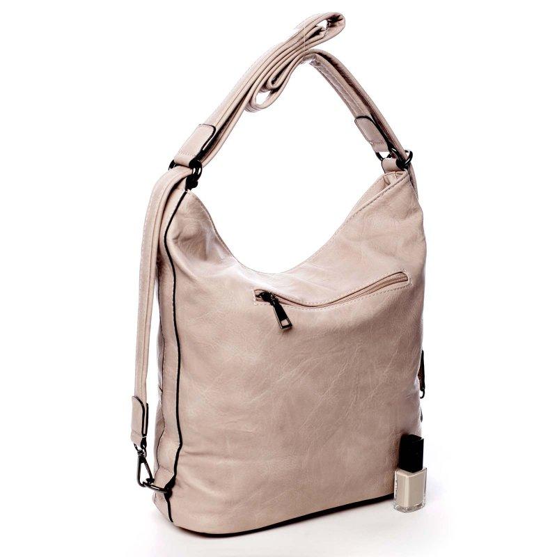 Praktická větší dámská koženková kabelka batoh Jodie růžová